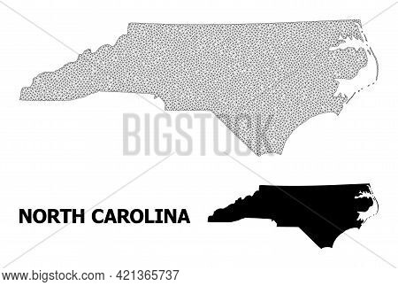 Polygonal Mesh Map Of North Carolina State In High Detail Resolution. Mesh Lines, Triangles And Dots