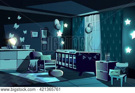 Vector Illustration Of Newborn Kid Or Nursery Room At Night In Moonlight. Modern Interior With Bed,