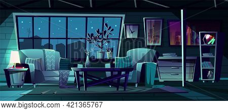Vector Cartoon Illustration Of Modern Living Room At Night. Cozy Interior With Sofa, Armchair And Bo