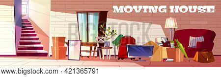 Moving House Cartoon Vector Concept With Box Filled Household Stuff, Luggage Bags, Home Plants And F