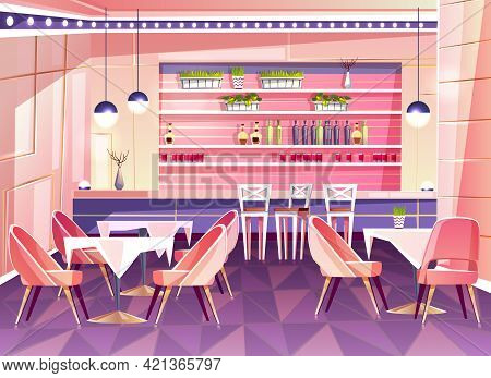 Vector Cartoon Cafe With Bar Counter - Cozy Interior With Plants In Pots, Tables And Chairs. Bright