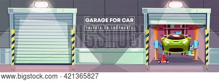 Car Garage Auto Mechanic Vehicle Lift And Roller Shutters Vector Illustration. Modern Corporate Or P