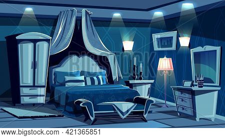 Night Bedroom With Lamps Light Illumination Vector Illustration. Vintage Or Modern Comfortable Cozy