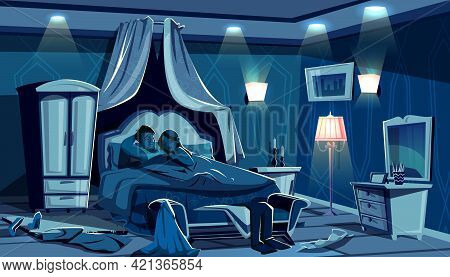 Lovers Sleep In Bed Vector Illustration Of Night Bedroom With Scattered Clothes In Passion Hurry. Ma