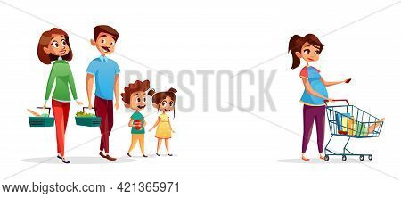 People With Shopping Carts Vector Illustration Of Family Of Man And Pregnant Woman With Children In