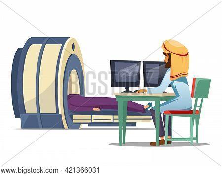 Vector Cartoon Arab Computer Tomography Ct Magnetic Resonance Imaging Mri Patient Scanning Concept.