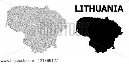Polygonal Mesh Map Of Lithuania In High Detail Resolution. Mesh Lines, Triangles And Points Form Map