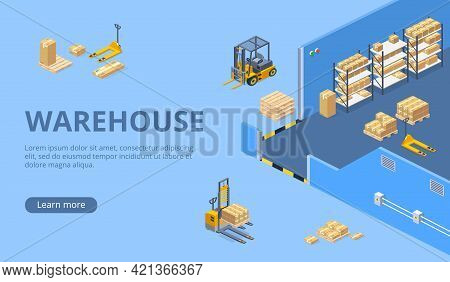 Industrial Warehouse, Distribution Or Delivery Company Isometric Vector Web Banner, Landing Page Wit