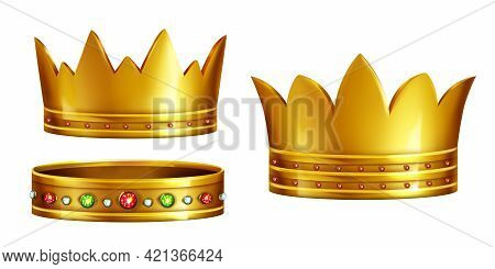 Set Of Royal Golden Crowns Decorated With Gems Realistic 3d Vector Isolated On White Background. Kin