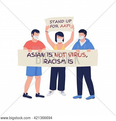Activists Fighting Against Injustice Flat Color Vector Faceless Characters. Anti-asian Hate Incident