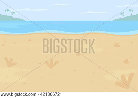 Tropical Beach Flat Color Vector Illustration. Summer Vacation Spot. Place For Holiday Journey. Summ