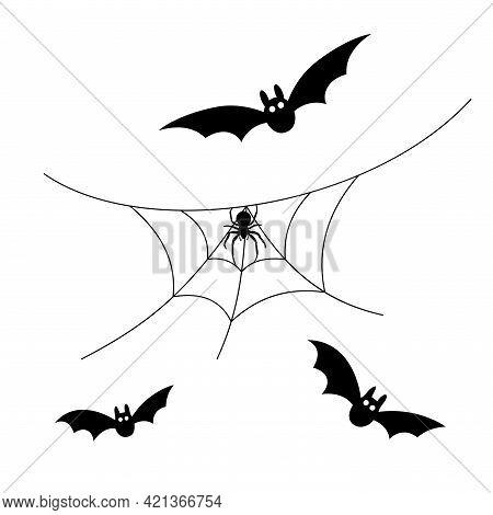 Scary Spiderweb. Black Cobweb, Bat, Spider, Isolated White Background. Halloween Horror Decoration.