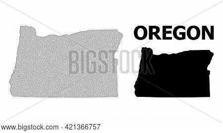 Polygonal Mesh Map Of Oregon State In High Detail Resolution. Mesh Lines, Triangles And Points Form