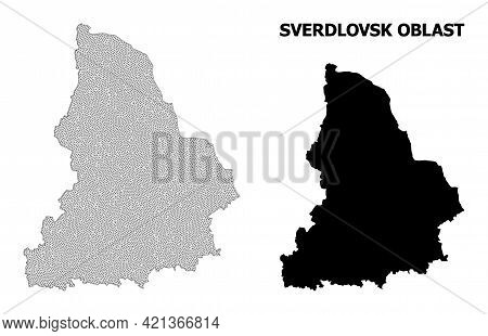 Polygonal Mesh Map Of Sverdlovsk Region In High Detail Resolution. Mesh Lines, Triangles And Points