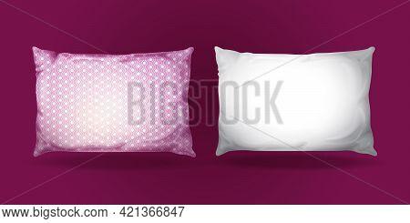 Vector 3d Pillow Mockup Set. Realistic Bedding Fabric Elements. White Purple Feather Cotton Rectangu