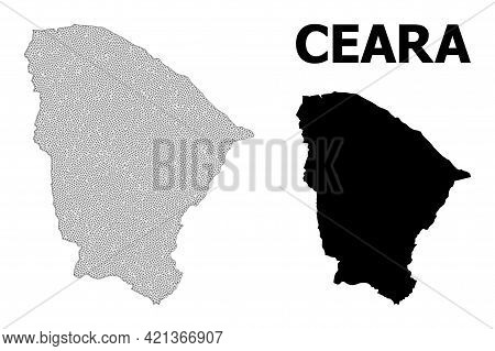 Polygonal Mesh Map Of Ceara State In High Resolution. Mesh Lines, Triangles And Points Form Map Of C
