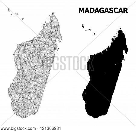 Polygonal Mesh Map Of Madagascar Island In High Detail Resolution. Mesh Lines, Triangles And Dots Fo