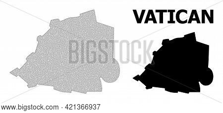 Polygonal Mesh Map Of Vatican In High Detail Resolution. Mesh Lines, Triangles And Points Form Map O