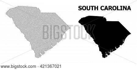 Polygonal Mesh Map Of South Carolina State In High Resolution. Mesh Lines, Triangles And Points Form