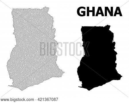 Polygonal Mesh Map Of Ghana In High Resolution. Mesh Lines, Triangles And Dots Form Map Of Ghana. Hi
