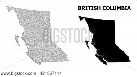 Polygonal Mesh Map Of British Columbia Province In High Resolution. Mesh Lines, Triangles And Dots F