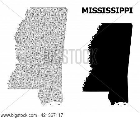 Polygonal Mesh Map Of Mississippi State In High Detail Resolution. Mesh Lines, Triangles And Dots Fo