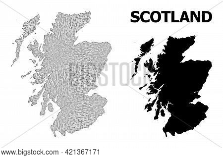 Polygonal Mesh Map Of Scotland In High Resolution. Mesh Lines, Triangles And Dots Form Map Of Scotla