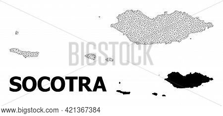 Polygonal Mesh Map Of Socotra Archipelago In High Resolution. Mesh Lines, Triangles And Points Form