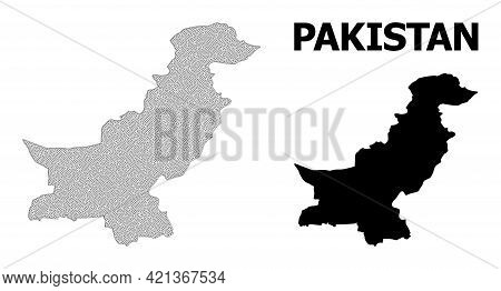 Polygonal Mesh Map Of Pakistan In High Detail Resolution. Mesh Lines, Triangles And Dots Form Map Of