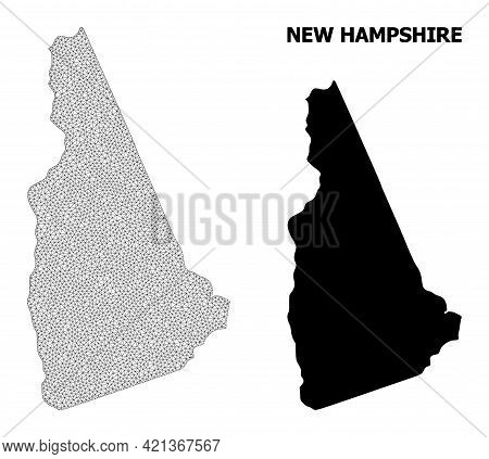 Polygonal Mesh Map Of New Hampshire State In High Resolution. Mesh Lines, Triangles And Points Form