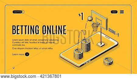 Betting On Sports Online Line Art, Isometric Vector Web Banner Or Website Template. Online Gambler W