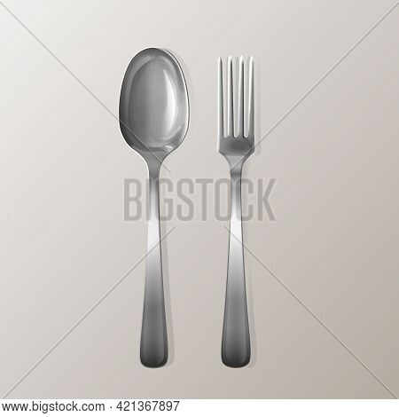 Vector Realistic Fork And Spoon. Silver Kitchen Stainless Utensil Set. Flatware Mockup For Restauran