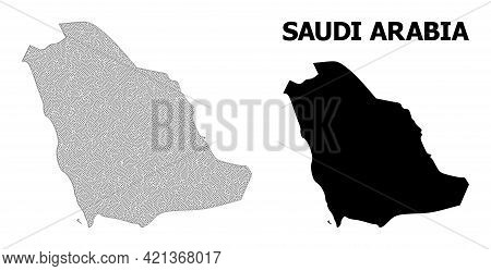 Polygonal Mesh Map Of Saudi Arabia In High Detail Resolution. Mesh Lines, Triangles And Points Form