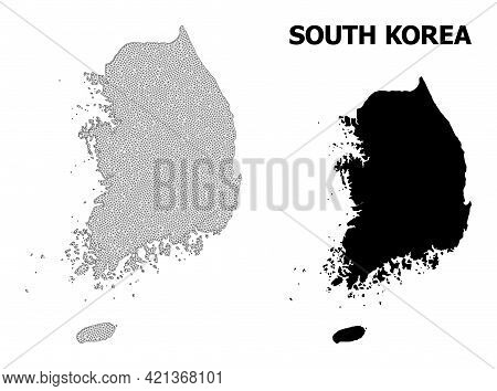 Polygonal Mesh Map Of South Korea In High Detail Resolution. Mesh Lines, Triangles And Dots Form Map