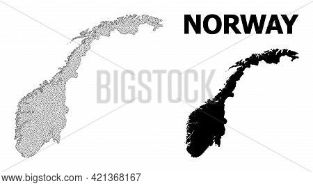 Polygonal Mesh Map Of Norway In High Resolution. Mesh Lines, Triangles And Dots Form Map Of Norway.