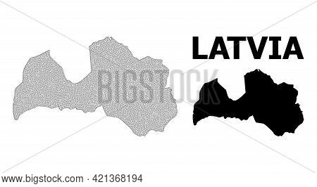 Polygonal Mesh Map Of Latvia In High Detail Resolution. Mesh Lines, Triangles And Dots Form Map Of L