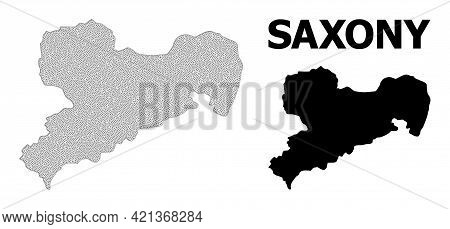Polygonal Mesh Map Of Saxony State In High Detail Resolution. Mesh Lines, Triangles And Points Form