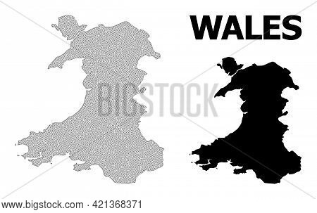 Polygonal Mesh Map Of Wales In High Detail Resolution. Mesh Lines, Triangles And Points Form Map Of