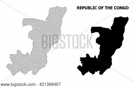 Polygonal Mesh Map Of Republic Of The Congo In High Detail Resolution. Mesh Lines, Triangles And Dot