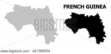 Polygonal Mesh Map Of French Guinea In High Detail Resolution. Mesh Lines, Triangles And Dots Form M