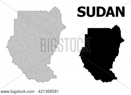 Polygonal Mesh Map Of Sudan In High Detail Resolution. Mesh Lines, Triangles And Dots Form Map Of Su