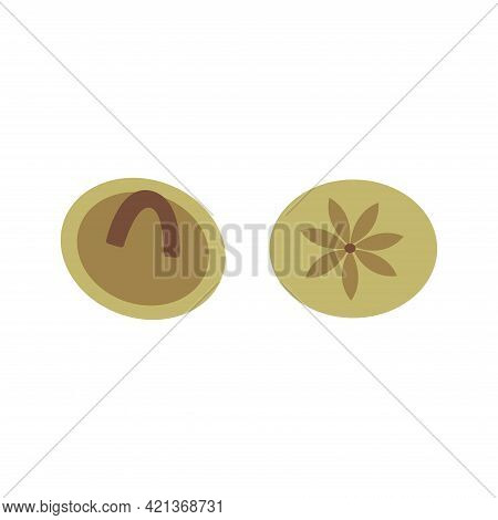 Round Small Buttons With Flower Pattern. Colorful Vector Illustration In Hand Drawn Style Isolated.
