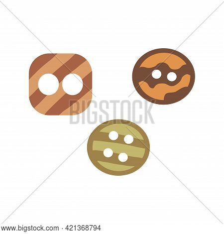 Set Of Small Buttons. Colorful Vector Illustration In Hand Drawn Style Isolated. Sewing Element, Dec