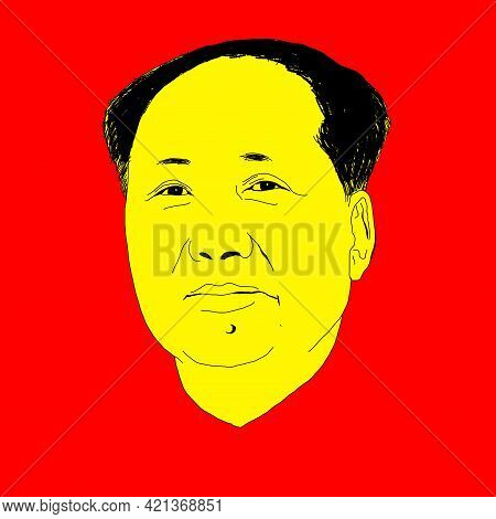 Realistic Illustration Of Chinese Communist Leader Mao Zedong