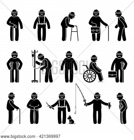 Grandfather Stick Figure Man Walking, Standing With Walker, Cane, Crutch, Drop Counter, Dog, Sitting