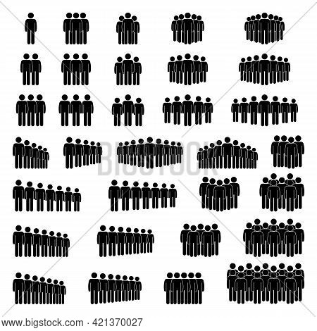 Group Of Stick Figure People Men Standing, Waiting In Line, Queue, Row Vector Icon Illustration Set.