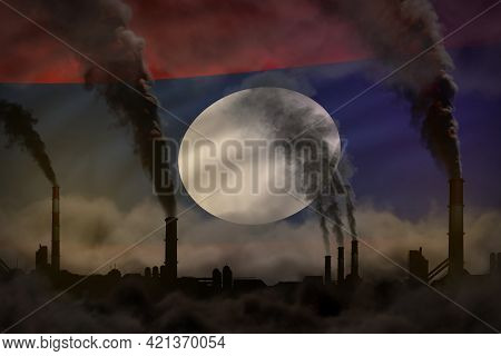 Global Warming Concept - Heavy Smoke From Factory Pipes On Lao People Democratic Republic Flag Backg