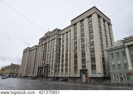 Moscow, Russia - May 4, 2021: Building Of The State Duma Of Russian Federation In Moscow, Russia.