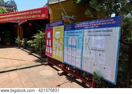 Hoi An, Vietnam, May 23, 2021: Panel With The Names Of The Political Candidates At The Entrance Of T