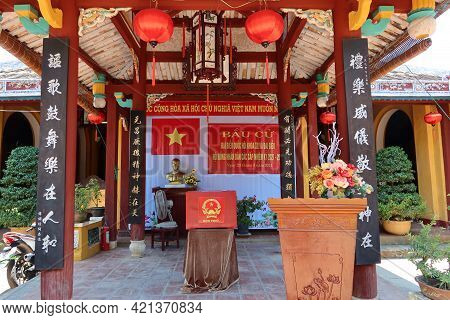Hoi An, Vietnam, May 23, 2021: Ballot Box In Dinh Cam Pho Temple Enabled To Vote In The Xv Parliamen